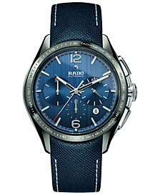 Rado Men's Swiss Automatic Chronograph HyperChrome Blue Fabric Strap Watch 45mm