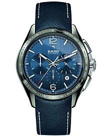 Rado Men's Swiss Automatic Chronograph HyperChrome Blue Fabric Strap Watch 45mm