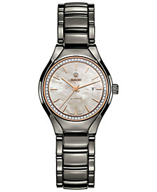 Rado Women's Swiss Automatic True Diamond (1/8 ct. t.w.) Plasma High-Tech Ceramic Bracelet Watch 30mm