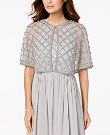 Adrianna Papell Sheer Embellished Cape