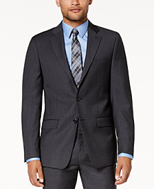 Calvin Klein Men's Slim-Fit Gray/Blue Plaid Suit Jacket