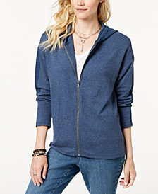 Style & Co Petite Thermal-Accent Zip-Up Hoodie, Created for Macy's