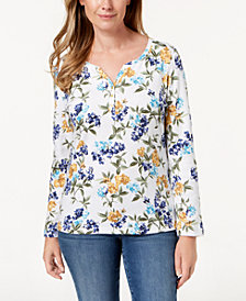 Karen Scott Floral-Print Henley Top, Created for Macy's
