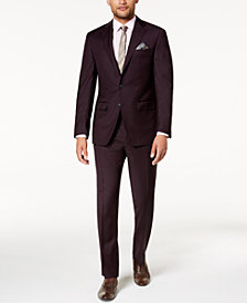 Tallia Men's Slim-Fit Stretch Burgundy Sharkskin Suit