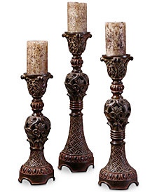 Uttermost Rosina Walnut Brown Candlesticks, Set of 3