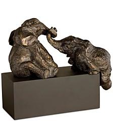 3-Pc. Playful Pachyderms Bronze Figurine