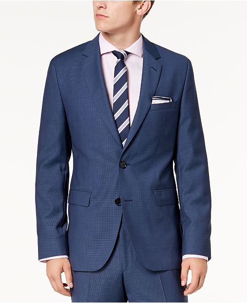 5c1ada41f Hugo Boss Men's Modern-Fit Blue Mini-Check Suit Jacket & Reviews ...