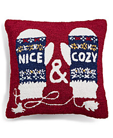 "Martha Stewart Collection Nice & Cozy 18"" Square Decorative Pillow, Created for Macy's"