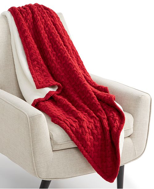 "Martha Stewart Collection Sweaterknit Lattice Reversible 50"" x 60"" Faux-Fur Throw, Created for Macy's"