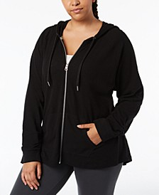 Plus Size Ruched-Sleeve Zip Hoodie
