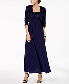 Empire-Waist Gown & Sequined Lace Jacket