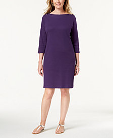 Karen Scott Cotton Button-Shoulder Boatneck Dress, Created for Macy's