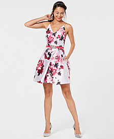 BCX Juniors' Rhinestone-Belted Floral Fit & Flare Dress