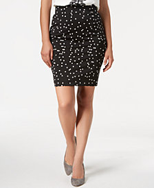 Alfani Petite Dot-Print Pencil Skirt, Created for Macy's