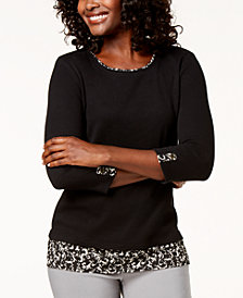 Karen Scott 3/4-Sleeve Layered-Look Top, Created for Macy's