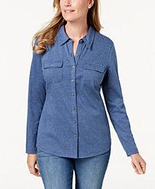 Karen Scott Long-Sleeve Shirt, Created for Macy's