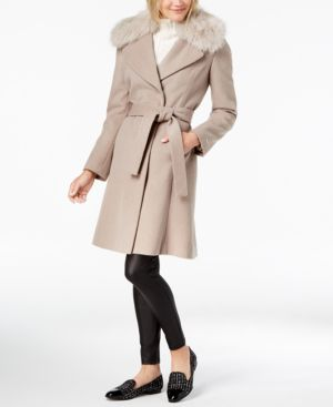 T TAHARI Faux-Fur-Trim Belted Wrap Coat in Brown Sugar