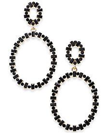 Thalia Sodi Gold-Tone Stone Oval Double Drop Earrings, Created for Macy's