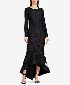 Lauren Ralph Lauren Tulle-Panel Lace Gown