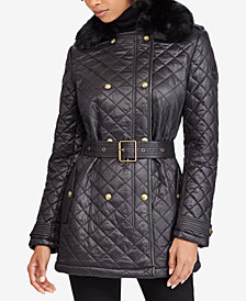 Lauren Ralph Lauren Faux-Fur-Collar Double-Breasted Coat