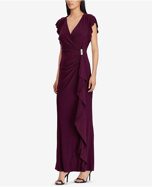 Macys Outlet Nj: Lauren Ralph Lauren Ruffled Jersey Gown & Reviews