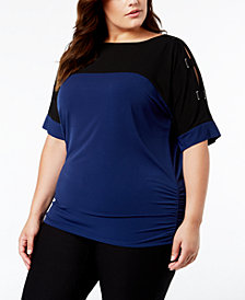JM Collection Plus Size Colorblock Lattice-Sleeve Top, Created for Macy's