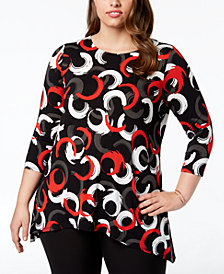 Alfani Plus Size Printed Woven-Back Top, Created for Macy's