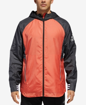 26a8f8165 Adidas Originals Adidas Men'S Sport Id Colorblocked Hooded Jacket In Amber  Carbon