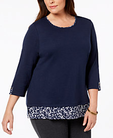 Karen Scott Plus Size 3/4-Sleeve Layered-Look Top, Created for Macy's