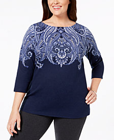 Karen Scott Plus Size Printed 3/4-Sleeve Top, Created for Macy's
