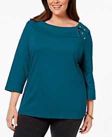 Karen Scott Plus Size Cotton Boat-Neck Top, Created for Macy's