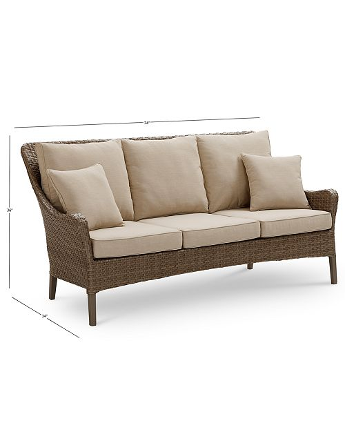 CLOSEOUT! Silver Lake Indoor/Outdoor Flat Rattan Sofa, with Sunbrella®  Cushions, Created for Macy\'s