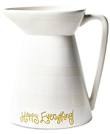 Happy Everything by Laura Johnson Collection White Stripe Happy Everything Flare Pitcher