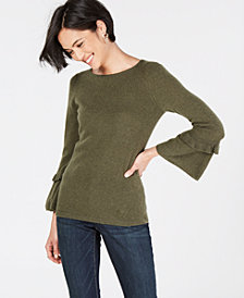 Charter Club Pure Cashmere Ruffled-Sleeve Sweater in Regular and Petite Sizes, Created for Macy's