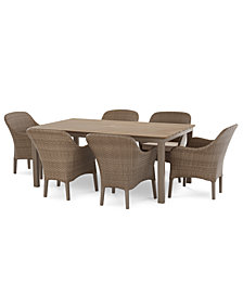 Silver Lake Indoor/Outdoor 7-Pc. (1 Table & 6 Dining Chairs) Dining Set With Sunbrella® Cushions, Created for Macy's