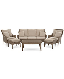 Silver Lake Indoor/Outdoor Flat Rattan 6-Pc. Seating Set (1 Sofa, 2 Club Chairs, 2 Ottomans and 1 Coffee Table) with Sunbrella® Cushions, Created for Macy's