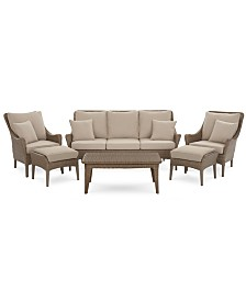 CLOSEOUT! Silver Lake Indoor/Outdoor Flat Rattan 6-Pc. Seating Set (1 Sofa, 2 Club Chairs, 2 Ottomans and 1 Coffee Table) with Sunbrella® Cushions, Created for Macy's