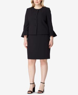 PLUS SIZE BELL-SLEEVE SKIRT SUIT