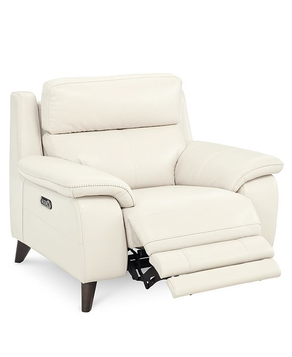 """Furniture Milany 46"""" Leather Power Recliner with Power Headrest and USB Power Outlet, Created for Macy's"""