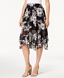 John Paul Richard Petite Tiered-Hem Maxi Skirt