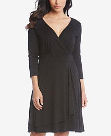 Karen Kane Faux Wrap Drape Dress