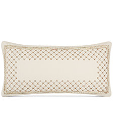 "Hotel Collection Mosaic Grid Beaded Embroidered 14"" x 28"" Decorative Pillow, Created for Macy's"