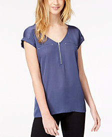 BCX Juniors' Zip-Detail Contrast Top