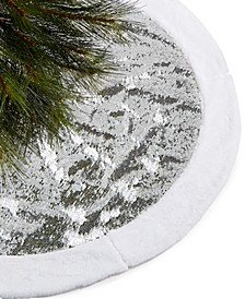White and Silver Sequin Tree Skirt , Created for Macy's