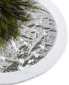 Holiday Lane Silver Sequin & White Plush Tree Skirt, Created for Macy's