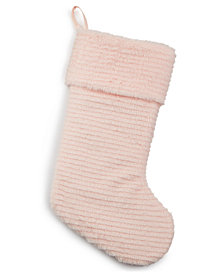 Holiday Lane Pink Faux-Fur Stocking, Created for Macy's