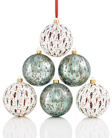 Holiday Lane Shatterproof White/Green Glitter Balls, Set of 6, Created for Macy's