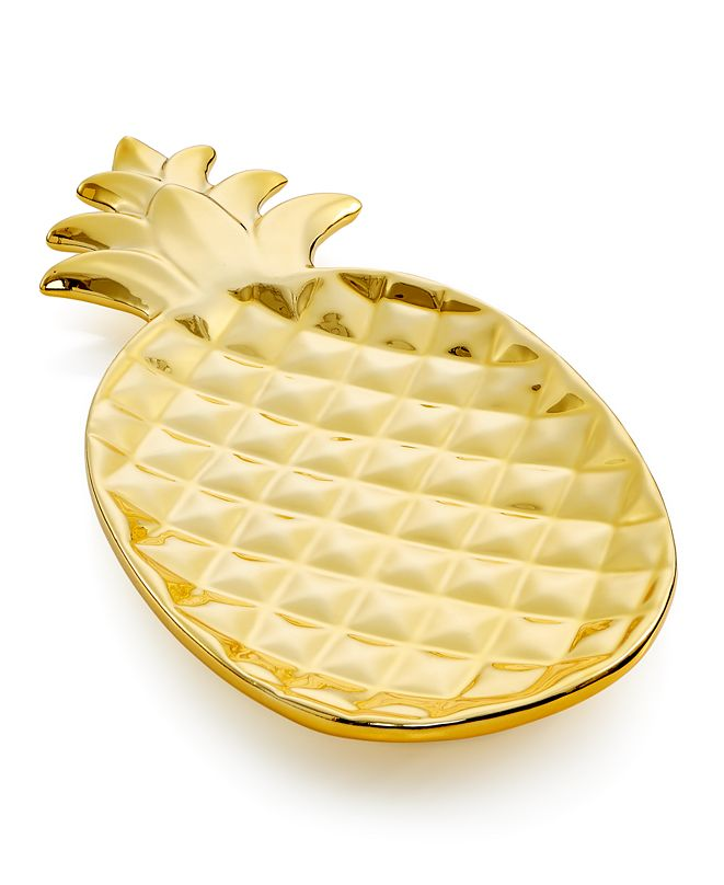 Holiday Lane Gold Dolomite Pineapple Plate, Created for Macy's
