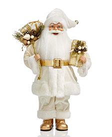 Holiday Lane Ivory & Gold Standing Santa, Created for Macy's