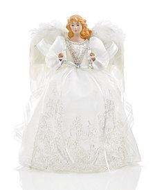 Holiday Lane American Angel with White Dress Tree Topper, Created for Macy's